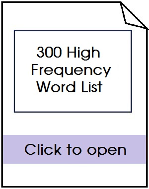 300 High frequency word list